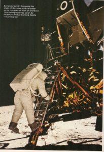 Buzz Aldrin stepping onto the Moon