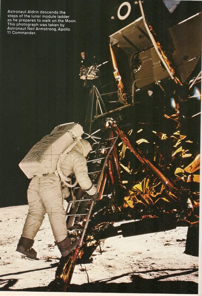 Buzz Aldrin stepped on to the moon in a photo taken by Neil Armstron in 1969